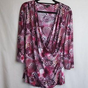 Milano Faux Wrap Shirt Size XL Pink